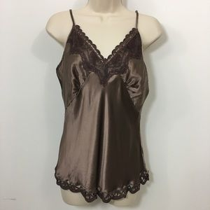 NWT Hale Bob silk camisole with Lace Trim Large